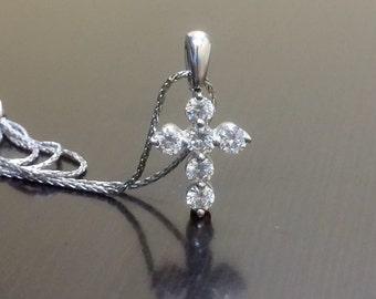 Diamond Cross - Cross Necklace - Diamond Necklace - Diamond Pendant - 18K White Gold Cross - 18K Gold Cross Pendant - Art Deco Gold Cross