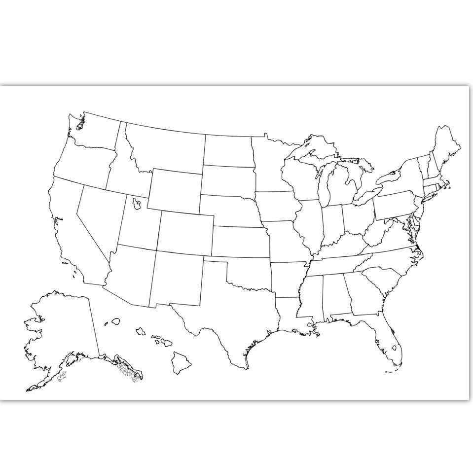 Coloring Map USA Coloring Page | USA Outline | Plain - No Labels ...