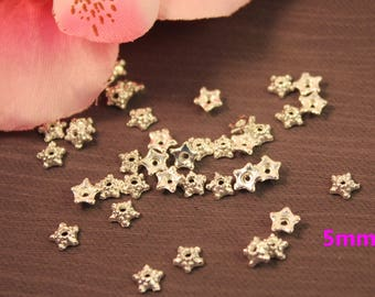 Lot 100 5 mm silver bead caps
