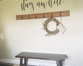 Stay awhile- metal script cut words