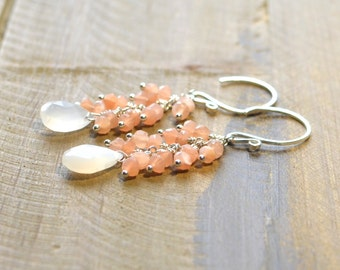 Natural Peach and White Moonstone Earrings, Handmade Sterling Silver Earrings. Ready to ship.