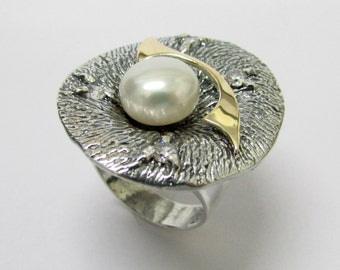 Statement Pearl Ring - Silver & Gold Unique Two-Tone Mixed Metals Artisan Jewelry Gift for Her, Sale
