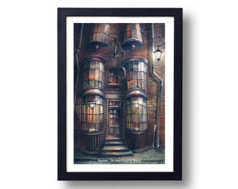 Harry Potter Poster, Harry Potter Art, Harry Potter Diagon Alley, Harry Potter Wall Art, Ollivanders Wand Shop Travel Poster