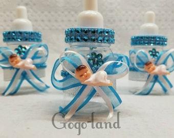 12 Fillable Baby Boy fillable bottles baby shower favors For Baby Shower Boy Blue Favors