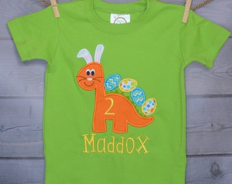 Personalized Easter Dinosaur with Bunny Ears and Eggs Applique Shirt or Bodysuit Girl or Boy