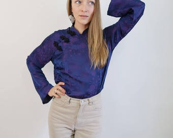 Violet/Purple Patterned SILK Asian Style Blouse with Mandarin Collar and Toggles