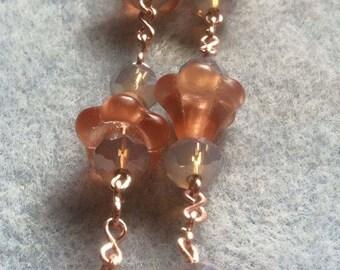 Flower jewelry, pink jewelry,rondelle beads, beaded jewelry, vintage jewelry,