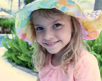 Wide brim sun hat for babies, cute and unique cotton sun protection hat for baby girls