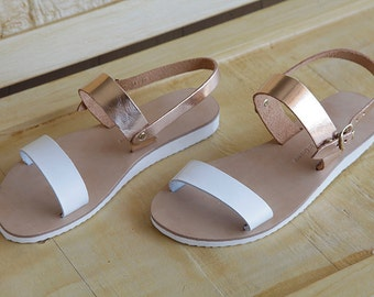 leather sandals , womens sandals , wide straps white and brass , sandals , womens shoes , greek sandals , gifts