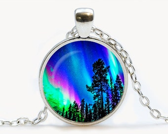 Northern Lights pendant. Northern Lights Trees Necklace. Galaxy, Universe jewelry, birthday gift