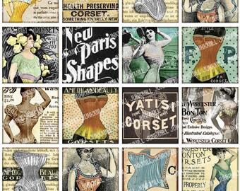 "CORSET - Digital Printable Collage Sheet - Vintage Lingerie, Victorian Women & Burlesque Ladies, 1"" Square or Scrabble, Instant Download"