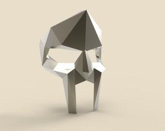Printable Paper Model of Mf Doom Mask 3D Papercraft Model - Download PDF Template - DIY Decoration