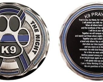 Single Heroes Live Forever K9 Thin Blue Line Ribbon Challenge Coin SKU: C122-0001