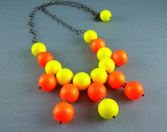 Neon Orange and Yellow Swarovski Pearl Bib Necklace and Earrings Set with Free USA Shipping