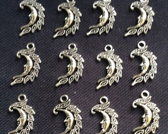 8 Crescent Moon Charms Silver Tone Metal