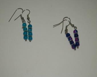 Beaded Earrings | Simple Earrings | Blue Earrings | Purple Earrings| Dangle Earrings | Drop Earrings