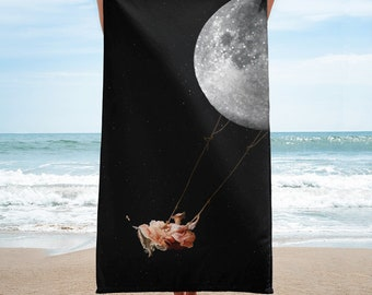Swinging on the Moon Towel - Outer Space Beach Towel - Sci Fi Illustration Cute Geeky