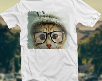 Cat Wearing Glasses T-shirt Hipsta Hipster Fresh Street Wear Clothing.