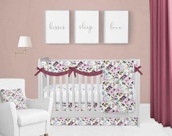 Crib Bedding Set Victoria Floral. Floral Baby Bedding. Floral Crib Set. Custom Crib Set. Custom Baby Bedding.
