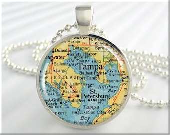 Tampa Map Pendant, Tampa Florida Map Necklace, Resin Picture Map Jewelry, Gift Under 20, Round Silver, Travel Gift 228RS