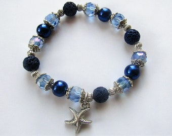 Essential oils or perfume diffuser bracelet in beautiful shades of blue. Lava bead bracelet. Stretchy bracelet. Starfish charm bracelet