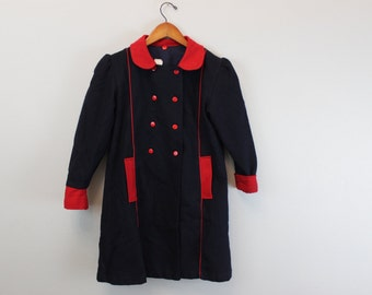 SALE Vintage Victorian Style Navy blue and red coat size 8 By Infantiles FA & MA