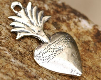 Flaming Heart Milagro in Sterling Silver, R-124