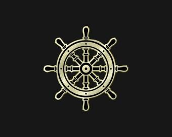 "Gold Ship Helm 1.25"" Enamel Pin"