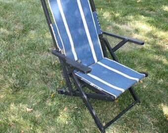 Vintage Folding Deck Chair Wood Canvas Sling Reclining Beach Deck Chair  Blue Mid Century Modern Patio