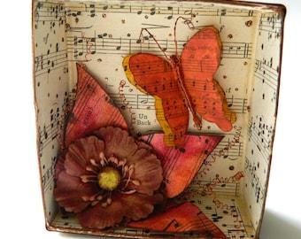 Butterfly Shadow Box/ Flower Shadow Box/ Shadow Box/ Wall Art/ Vintage Music Shadow Box/ Flower garden Shadow Box/ Small Wall Art/ Butterfly