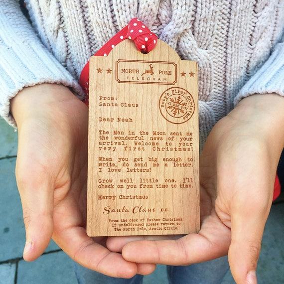 Babys first christmaswooden tag telegram spiritdancerdesigns Choice Image