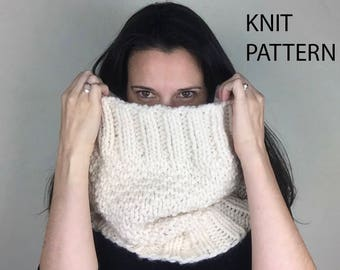 Cowl scarf knitting pattern, knit scarf pattern, knitted cowl pattern, oversized scarf, chunky knit scarf, oversized cowl instructions