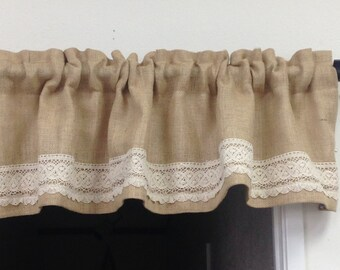Lace Ruffle Curtain, Short Burlap Valance, Bohemian Curtains, Boho Chic Curtains