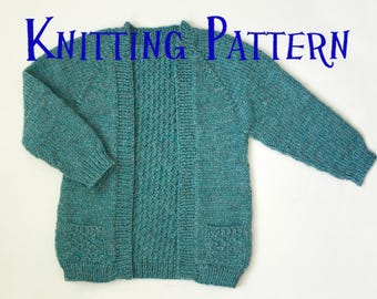 PDF Knitting Pattern - Little Greystone Cardigan, Ages 1-10 years, Child Sweater, Infant Toddler Knitting Pattern, Girls Cardigan Pattern