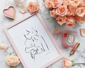 Embrace, Illustration Kids Art Print, Kids Room decor, Nursery, Baby, Wall Art, Poster, Family gift ideas