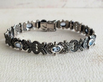 Vintage Marcasite and Silver Blue Topaz Ladies Hinged Bracelet by avintageobsession on etsy...free USA shipping