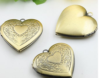 10pcs/lot 28mm Heart Shape Locket pendant, vintage style pendant, Antique Bronze- Lockets for Women