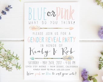 Arrow Gender Reveal Invitation, Arrow, Baby Reveal, Blue, Pink, Tribal, Aztec, Gender Neutral, Baby Shower Invite [100]