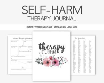 Self-Harm Therapy Journal: Mental Health, Cutting, Burning, Depression, Anxiety, Counseling, Instant Printable Download