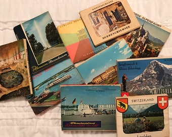 Lot of 10 small Souvenir Photograph Booklets from Europe Germany Switzerland Austria from the 1960's