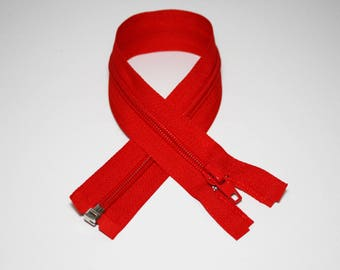 Zip closure, 35 cm, red, detachable