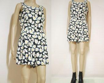 Vintage 90s Romper Floral Grunge Jumpsuit Mini Shorts Boho Hippie Nineties High Waist Vtg 1990s Size S-M