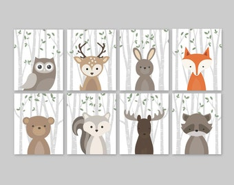Woodland Nursery Decor, Woodland Nursery Prints Forest Animals Woodlands Nursery Wall Art Forest Friends Woodland Animals Fox Bear Set of 8