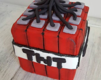 Minecraft TNT Inspired Cake Topper