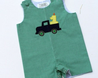Birthday Truck Jon Jon, 1st birthday outfit, 2nd birthday outfit, birthday romper