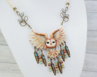 Native American, OOAK necklace, owl, hand molded of cold porcelain, crafts