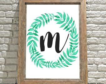 Printable Monogram Wall Art - M