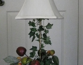 Vintage French Country Lamp Fruit Filled Ceramic Planter