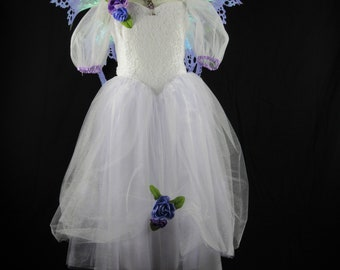Flower girl - White bridal lace and crushed satin - Size 8