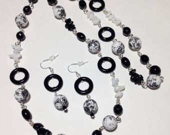 Long Necklace, Black and White, Acrylic, Glass, Stone, Continuous Strand Necklace, Earrings, Black Tie Affair